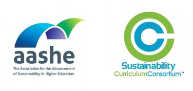 AASHE the Association for the Advancement of Sustainability in Higher Education and Sustainability Curriculum Consortium logos